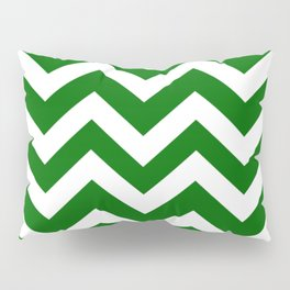 Pakistan green - green color - Zigzag Chevron Pattern Pillow Sham