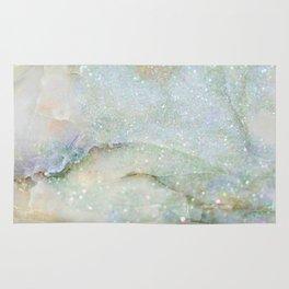 Elegant Aqua Marble with Flecks of Diamond Glitter Rug