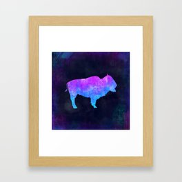 BUFFALO IN SPACE // Animal Graphic Art // Watercolor Canvas Painting // Modern Minimal Cute Framed Art Print