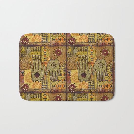 African Ethno Pattern Hand Symbol Bath Mat