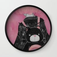 loll3 Wall Clocks featuring T e d d y  by lOll3