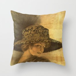 Golden victorian lady Throw Pillow