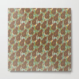 Autumn Brown Paisley Metal Print