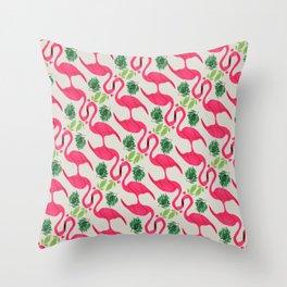 Pink flamingo Favola Throw Pillow