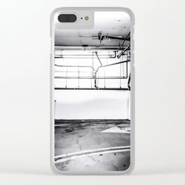 underground parking lot with tube in black and white Clear iPhone Case