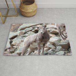 Watercolor Sheep, Bighorn Juvenile 03, Drake, Colorado, Rocky-top Rug