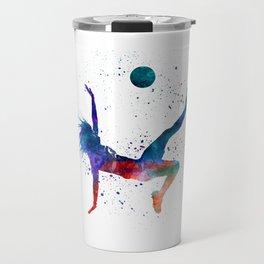 Woman soccer player 08 in watercolor Travel Mug