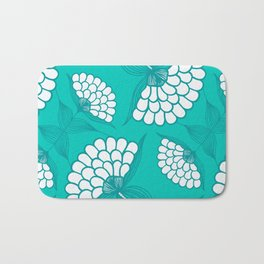 African Floral Motif on Turquoise Bath Mat