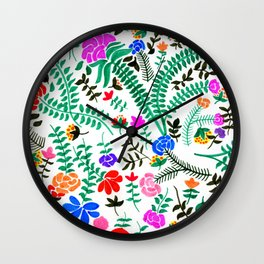Mexican flowers pattern Wall Clock
