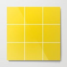 Yellow White Grid Metal Print