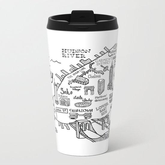 New York City Map Metal Travel Mug