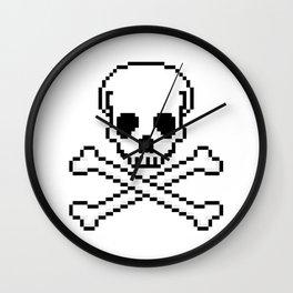 Pixel Skull And Crossbones. Wall Clock