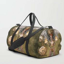 Steampunk lady with wings Duffle Bag