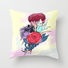 Chrysanth Wisteria & Lily - & Rose  Throw Pillow