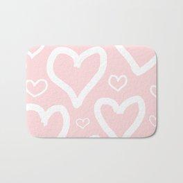 Millennial Pink Pastel Hearts Bath Mat