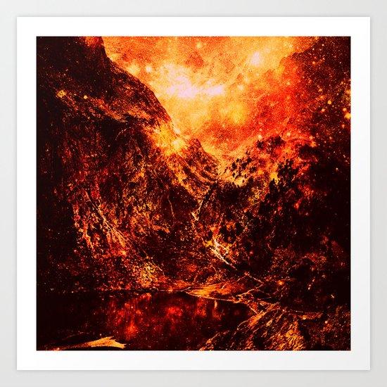 Fiery galaxy Mountains Art Print