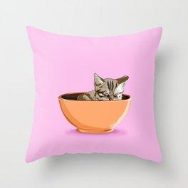 Cat Coffee Mug Throw Pillow