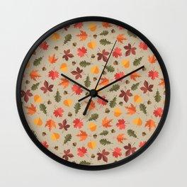 Autumn Leaves Pattern Beige Background Wall Clock