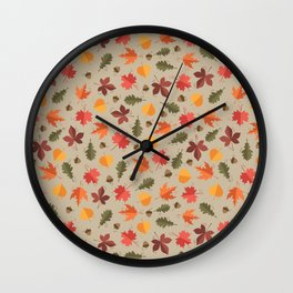 Autumn Leaves Pattern Beige Background Wall Clock