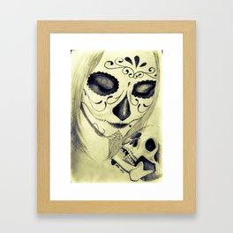 Painted Woman holding Skull Framed Art Print