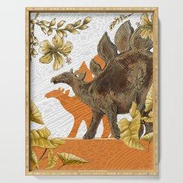 Jurassic Stegosaurus: Orange & Gold Serving Tray
