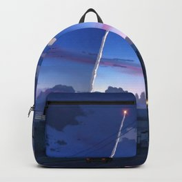 Inspiring Shuttle Launch Over Suburban Town At Gorgeous Sunset Cartoon Scenery Ultra High Definition Backpack