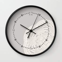 Cream on Taupe Antique Crocheted Lace Pineapples Doily Wall Clock