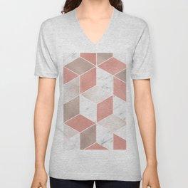 Summer peach marble geometry Unisex V-Neck