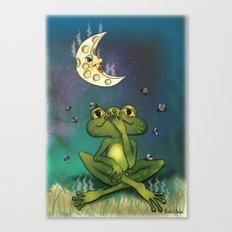 Frog and stinky moon Canvas Print