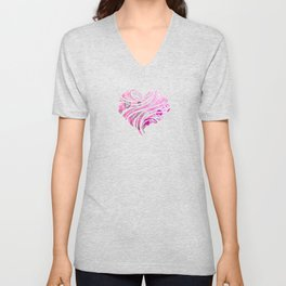 Wobbly Dots in shocking pink Unisex V-Neck