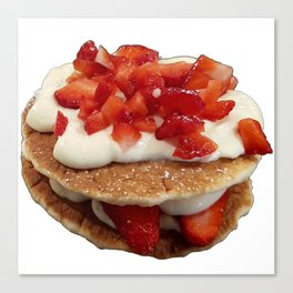 pancakes_strawberries_and_whip_cream Canvas Print