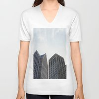 detroit V-neck T-shirts featuring Downtown Detroit by Michelle & Chris Gerard