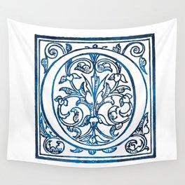 Letter O Antique Floral Letterpress Wall Tapestry