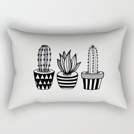 Cactus Plant monochrome cacti nature greyscale illustration floral succulent leaf home wall decor Rectangular Pillow