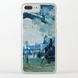Claude Monet - Arrival Of The Normandy Train, Gare Saint Lazare Clear iPhone Case