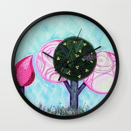 Pink grove Wall Clock