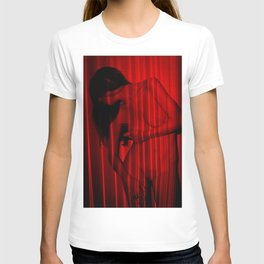 Abstract portrait. Silhouette of Naked woman painted by laser red lines. T-shirt