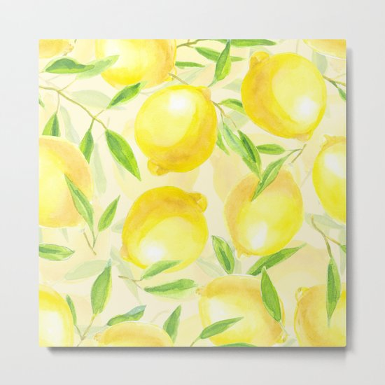 Lemons with leaves watercolor pattern Metal Print