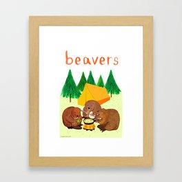Beavers Illustration Framed Art Print