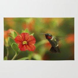 Male Ruby and a Petunia Bloom Rug