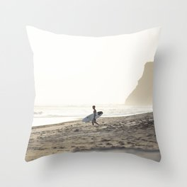 Sunset surf session Throw Pillow