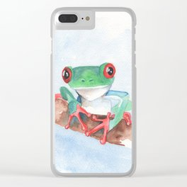 Red eyed tree frog tropical animal Clear iPhone Case