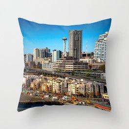 Seattle Space Needle and Aquarium Throw Pillow