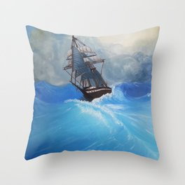 The Roiling Wake Throw Pillow