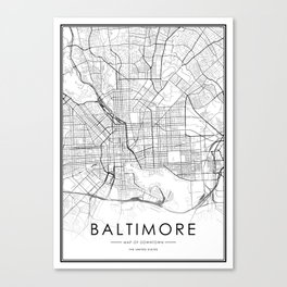 Baltimore City Map United States White and Black Canvas Print