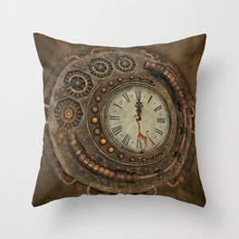 Steampunk, awesome clock Throw Pillow