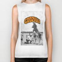 godzilla Biker Tanks featuring godzilla  by sr casetin