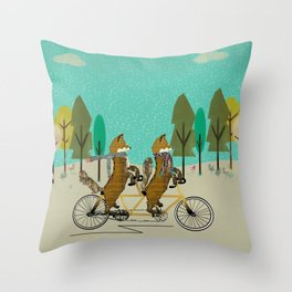 foxy days lets tandem Throw Pillow