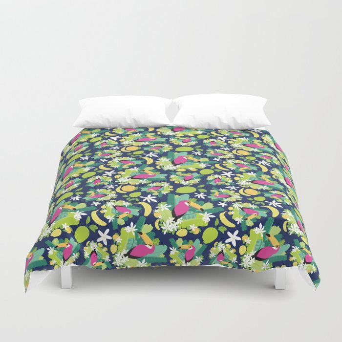 Toucans Everywhere - Blue Duvet Cover