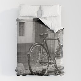 GRAYSCALE PHOTO OF COMMUTER BIKE Comforters